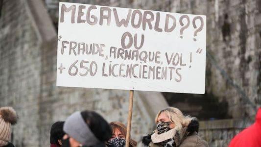 Mega World: le personnel devant le Parlement wallon